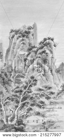 Mountains landscape chinese ink painting. Traditional sumi-e painting