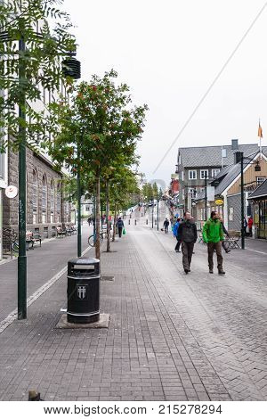 Austurstraeti Street In Reykjavik City In Autumn