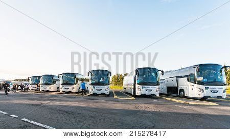 People Near Reykjavik Excursions Buses In Morning