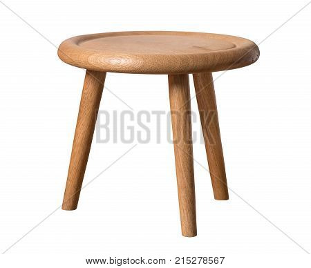 Small wooden chair stool isolated on white background