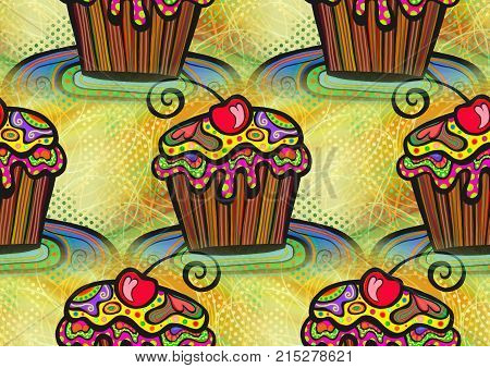 A seamless artistic cupcake party background design.