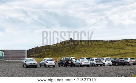 Car Parking Area On Dyrholaey Peninsula In Iceland