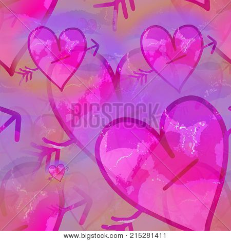 A digitally created seamless textile design with pink love hearts.