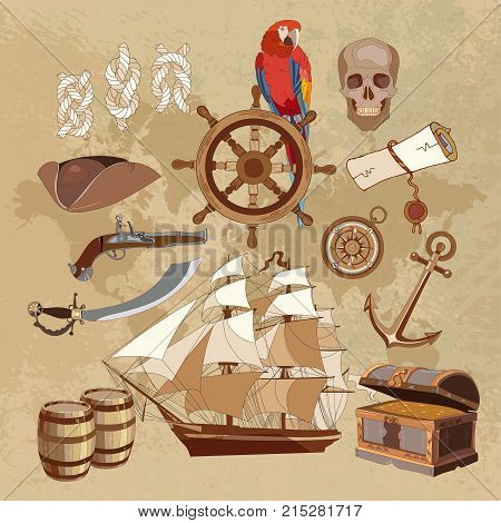 Treasure chest parrot. steering wheel skull rum saber pirate hat and ship. Old pirate treasure map. Adventure stories art background