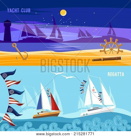 Yacht racing banner sailing regatta. Sea adventure. Sailing in the wind through the waves. Water sports Nautical school