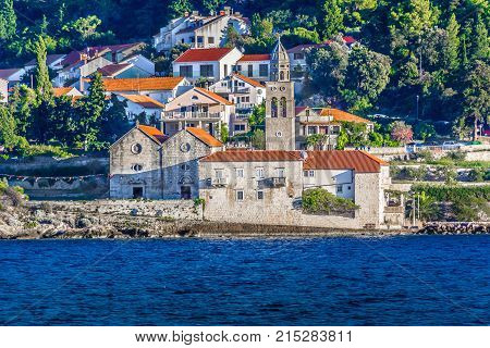 Seafront view at dominican monastery by the sea in Korcula town, Croatia.