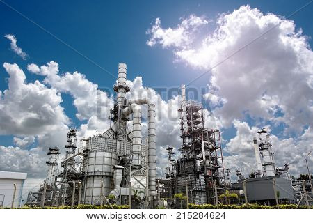 Close up Industrial view at oil refinery plant form industry zone