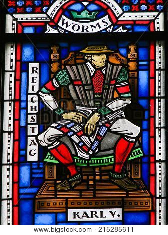 Stained Glass In Worms - Charles V At The Diet Of Worms