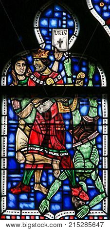 Stained Glass In Worms - Murder Of Uriah By King David