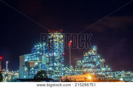 Industrial Petrochemical landscape at nightมpower plant in the petrochemical plant at twilight