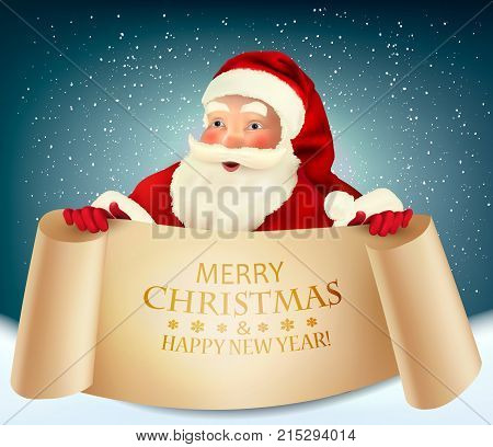 Vector vintage Christmas greeting card with Santa Claus holding a a paper signboard.