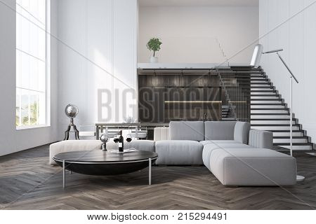 White Living Room, Sofa And Table