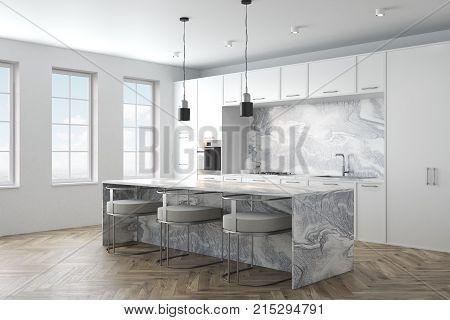 White Marble Kitchen Interior Side