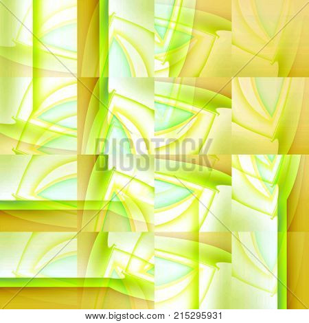 Abstract modern geometric background. Intricate squares pattern in light green shades with yellow, ocher, light blue and white, with stripes shifted.