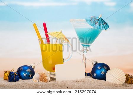 A Cocktail, Glass Of Orange Juice, Blank Card, Christmas Balls And Gifts, Sea Shell, Shell In Sand O