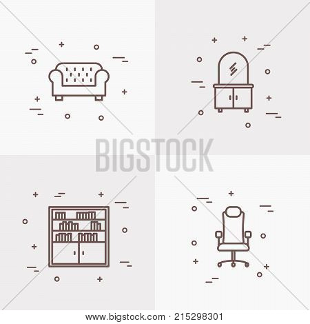 Furniture line icons set of coach, bookcase, dresser, chair. Modern vector illustration.