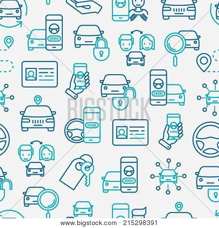 Car sharing seamless pattern with thin line icons of driver's license, key, blocked car, pointer, available, searching of car. Vector illustration for banner, web page, print media.