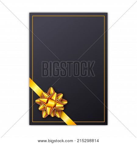 Black holiday gift card with golden ribbon and bow. Template for a business card, banner, poster, notebook, invitation. Vector illustration for your design
