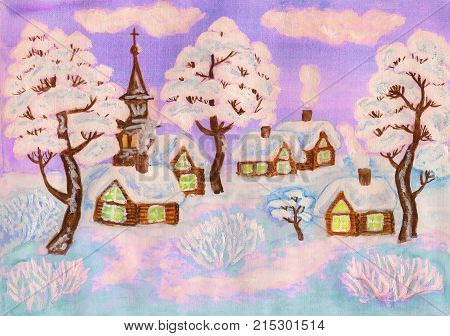 Hand painted Christmas illustration, winter landscape with houses and trees , used watercolour, gouache and acrylic.
