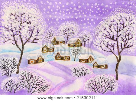 Hand painted Christmas picture, winter landscape with houses and trees in purple colours, used watercolour, gouache, acrylic.