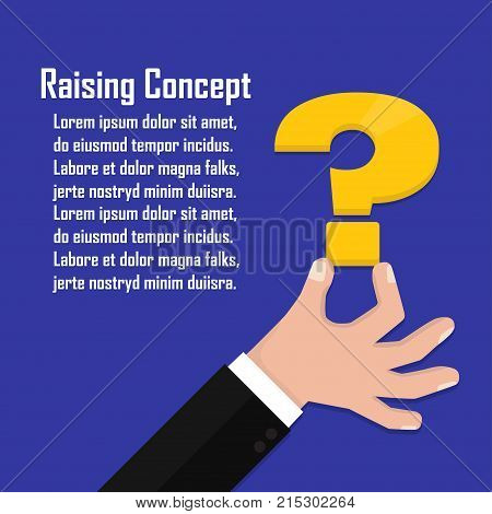Hand of the person holds a question mark. Concept of a raising of a question in business.