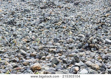 Gray Pebble Stones Of Atlantic Coast In Reykjavik
