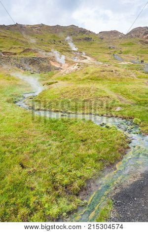 Hot Water Stream In Hveragerdi In Iceland