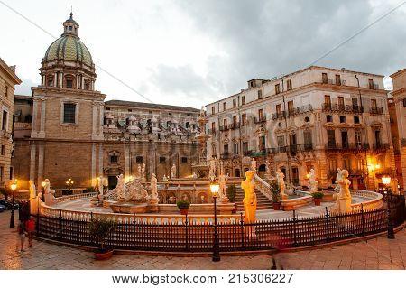 Fountain of shame on baroque Pretoria square Palermo Sicily Italy Europe