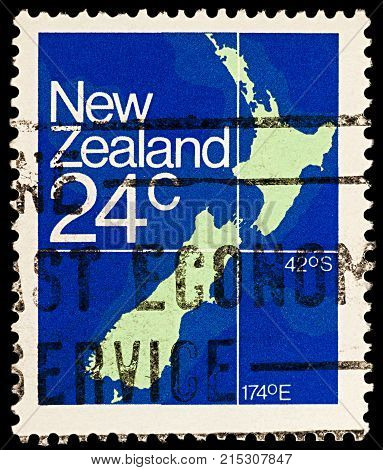 Moscow Russia - November 25 2017: A stamp printed in New Zealand shows Map of New Zealand circa 1982
