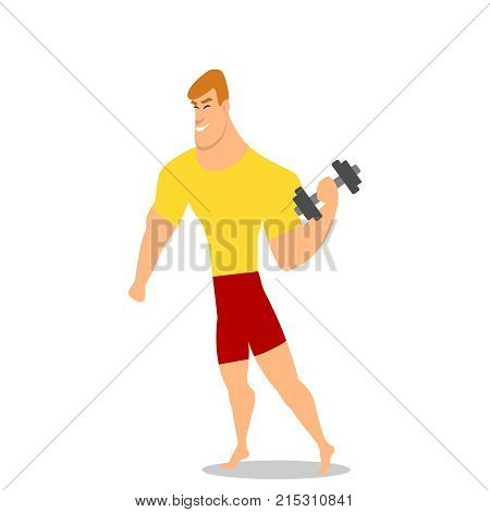 Young man, male bodybuilder, weightlifter doing bicep workout, training arms with two dumbbells, cartoon vector illustration isolated on white background. Male bodybuilder doing bicep workout eps10