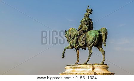 ROME - AUGUST 10, 2017: Equestrian statue of Victor Emmanuel II, the first king of unified Italy, part of the Altare della Patria a monument built in honor of him built in the years 1885-1925.