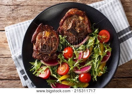 Spicy Roasted Lamb Steak And Radish Salad, Tomato And Lettuce Close-up. Horizontal Top View