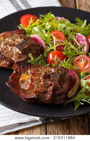 Spicy Roasted Lamb Steak And Radish Salad, Tomato And Lettuce Close-up. Vertical