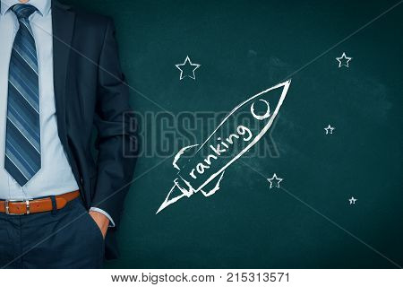 Businessman help to speedily increase company ranking represented by spaceship.