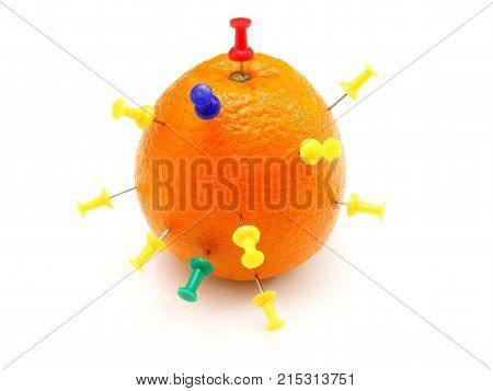Isolated Colourful Office Pins Thrust In An Orange