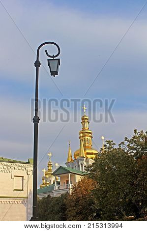 Bell Tower of Distant Caves and Church of Assumption of Kiev Pechrsk Lavra monestary, Kyiv,Ukraine in the autumn. Oldest Orthodox Monastery in Ukraine dating from 1051
