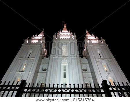 Facade of LDS Mormon temple at Temple Square Salt Lake City Utah