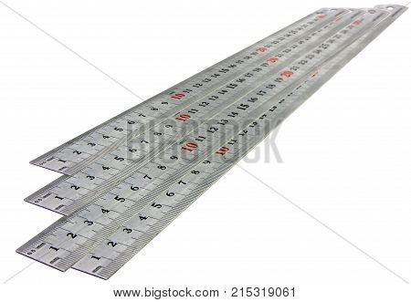 isolated with metal ruler on a white background