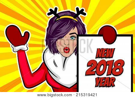 Girl deer antler hold banner. Woman pop art greeting Merry Christmas and New Year. Vintage popart poster. Wow face kitsch vector illustration. Speech bubble. Comics book text radial background.