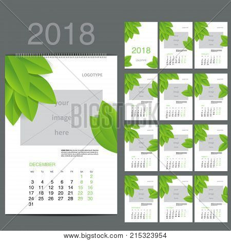 ECO style Wall Monthly Calendar for 2018 Year. Vector Design Print Template with Place for photo. A3, A2 or bigger. Week Starts Monday. Portrait Orientation. Set of 12 Months and Cover. 13 pages