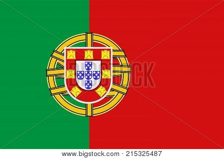 National symbol of Portugal. Portugal flag, official colors and proportion correctly. National flag. Vector illustration.