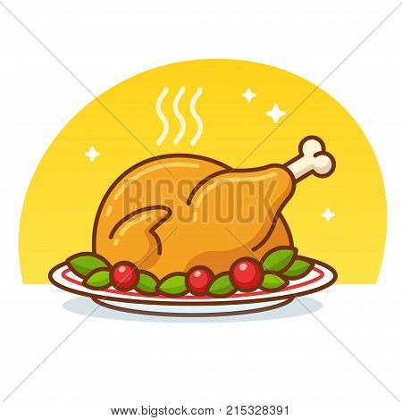 Roast turkey or chicken clip art illustration in flat cartoon vector style. Roasted poultry on plate decorated with lettuce and tomatoes.