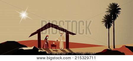 Christmas time. Nativity scene with Mary, Joseph and baby Jesus in Christmas landscape.