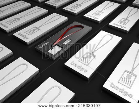 Blank Badge With Lanyard In The Boxes, On Black Background