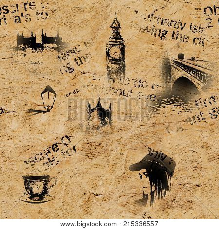 Beige vintage old paper London grunge background. Seamless texture with hand drawn elements unreadable text tea cup fashion girl. Pattern for wrapping wallpaper textile fabric.