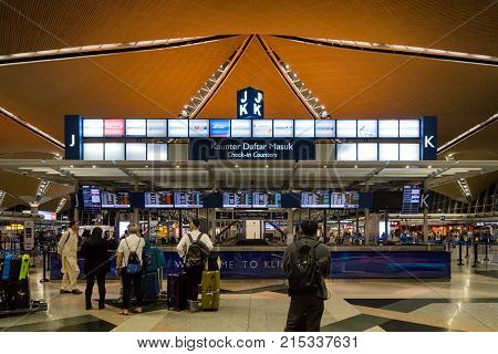Kuala Lumpur, Malaysia - October 2017: Kuala Lumpur international airport. Kuala Lumpur international airport is the biggest airport in Malaysia and is a major airport in Asia.