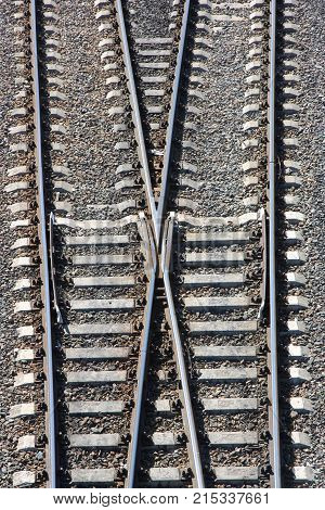 The junction of the railway tracks, the fork of the road.