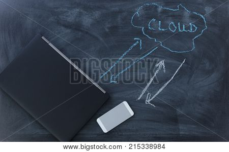 Net Neutrality with internet communication devices on chalkboard