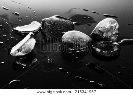 Ice block as background  Ice is water frozen into a solid state. Depending on the presence of impurities such as particles of soil or bubbles of air, it can appear transparent