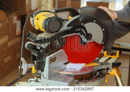 Man Working With Circular Saw, Selective Focus